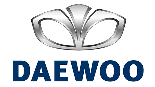 A shiny silver logo of Daewoo with the text 'Daewoo' written below in blue