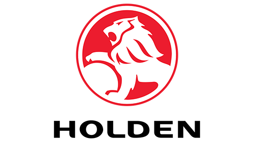 Logo of Holden Motors in red, with Holden written in black below it