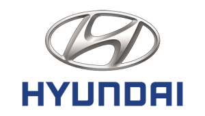 Silver Hyundai Logo on a transparent background with the name 'Hyundai' written below it in blue