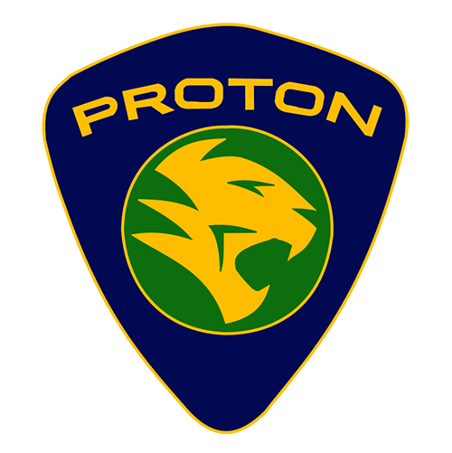 Proton Logo with the tiger in yellow inside a green circle and the brand 'Proton' written in yellow