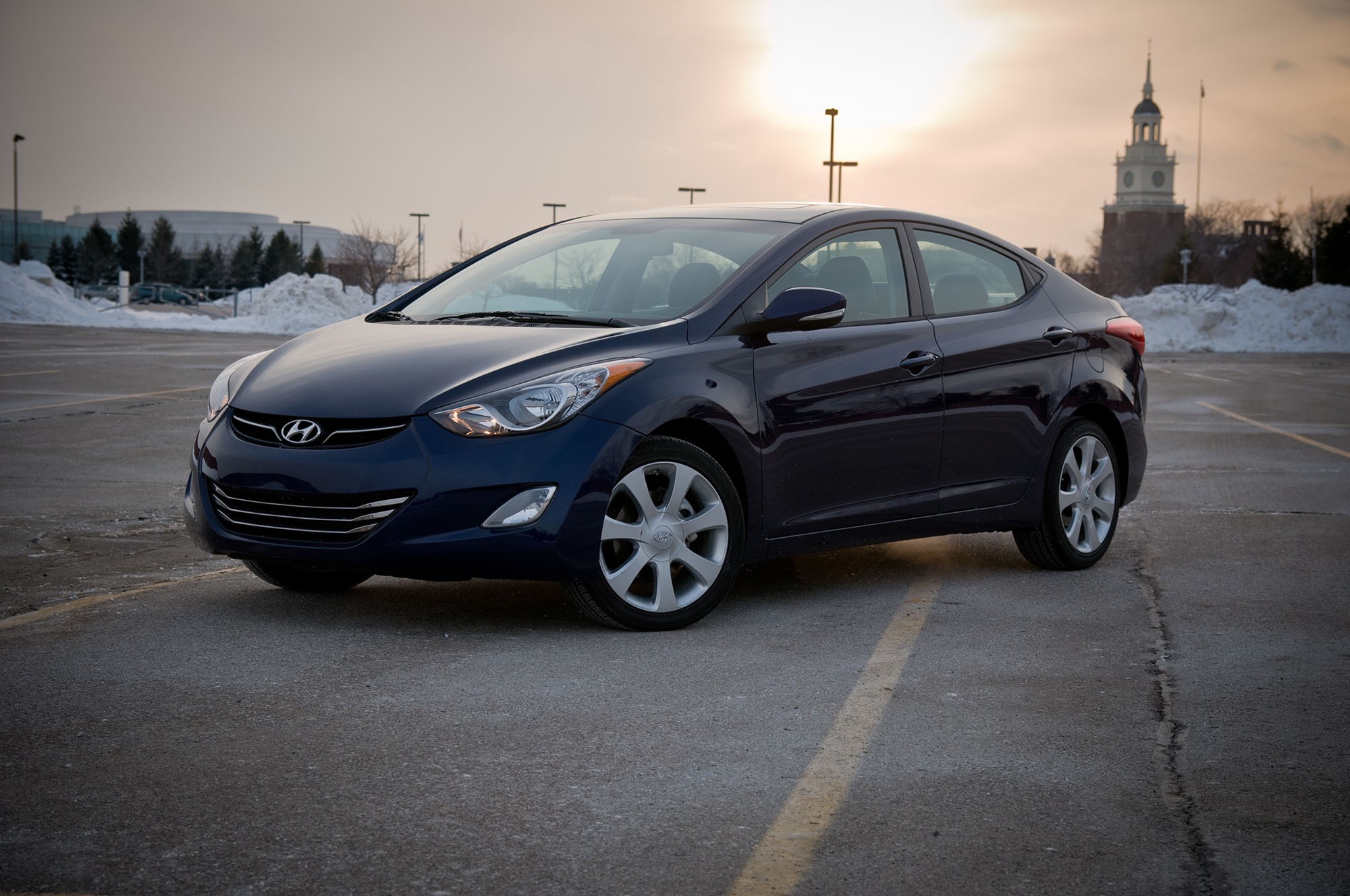 2012 model of navy blue hyundai elantra in a scenic view