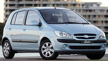 Hyundai Getz, one of the most popular hatchbacks from Hyundai, parked an on open road