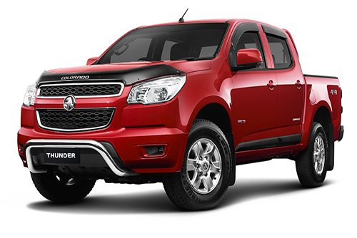 One of Holden's most sought after trucks, the Colorado Z71 in metallic red captured from the front