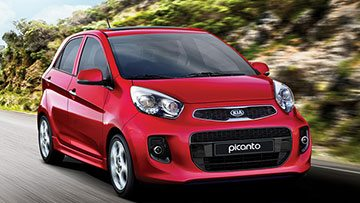 Dual door Kia Picanto TA in red, a small hatchback perfect for a family of two