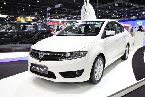 Royal white proton preve CR on a platform at the auto expo