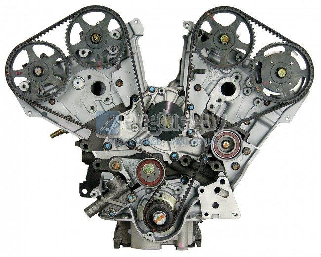 A four cylinder engine showing the insides, the cyclinder motors, drivetrain, and more