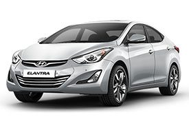 The 2016 version of the famous Hyundai Elantra with chrome grille and lightly tinted windows