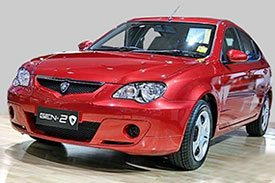 The second generation of the red Proton PM posing for shutters in an auto expo