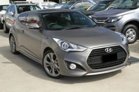 Two door dark grey hyundai veloster hatchback of FS4 series II pictured outside a showroom