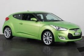 Green, two door, Hyundai Velostor FS, with better aerodynamics