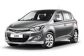 Front view of the shiny silver Hyundai i20, model name PB