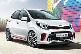 Kia Picanto, a full white hatchback with unique grille, front bumper and 16 spoke alloy wheels