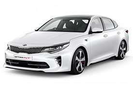 Front angled view of Kia Optima GT sedan, model JF, in white with a unique front grille and bumper