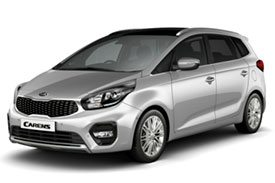 The 4th version of Kia Carens with 20 spoke rims and a distinct black sun roof