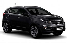 The first version of Kia Sportage KM cars, with all-black design black tinted windows