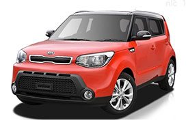 A classier looking version of the Kia Soul series of hatchbacks, painted in red and a black sun roof