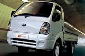 PU3, the mini truck from Kia, pictured in all white paint inside a tunnel road