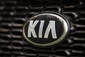 : KIA badge on the front of a car